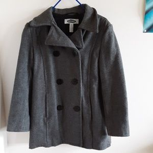 Old Navy Small Gray Wool Double Breasted Pea Coat